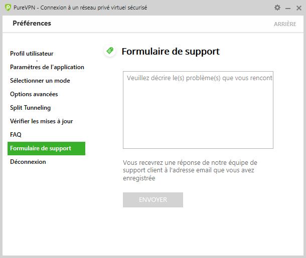 purevpn formulaire support