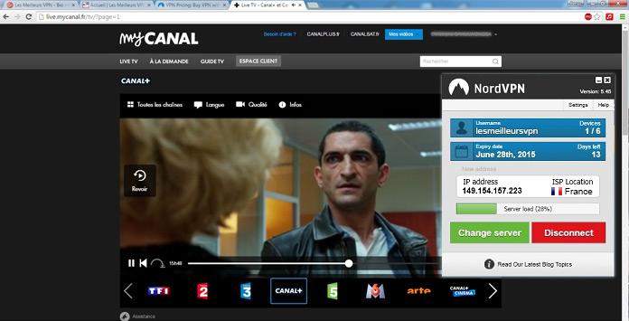 Canal+ avec NordVPN