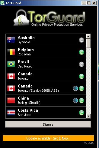 Test TorGuard avis : liste des serveurs