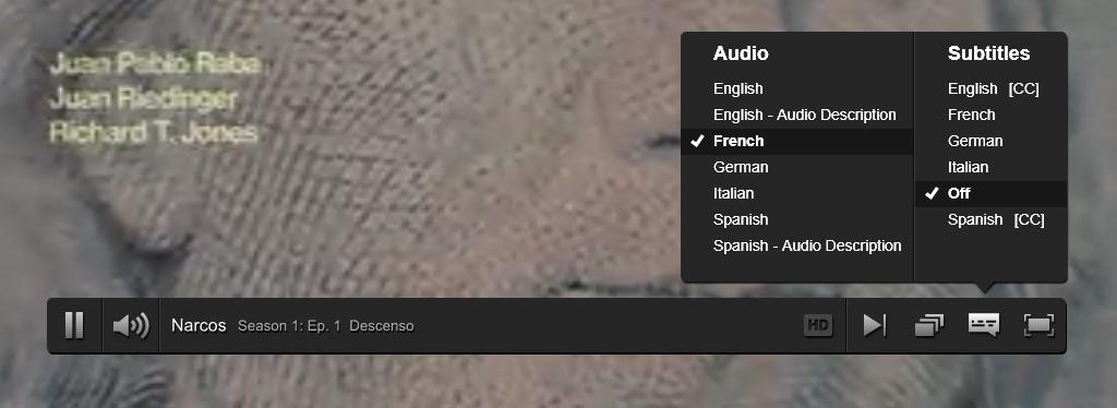 Netflix France | sous-titres Narcos