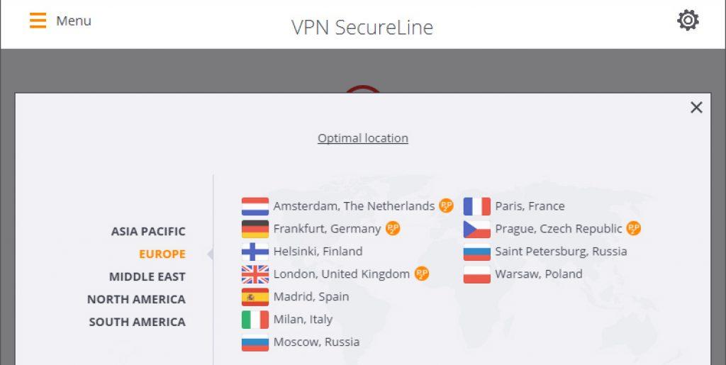 VPN Avast SecureLine : choix des pays
