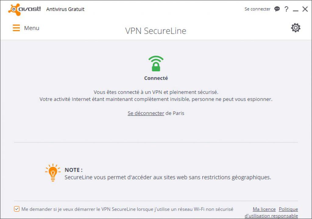 Avast SecureLine : vpn connecté