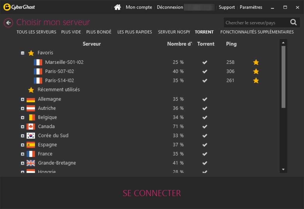 cyberghost choisir serveur