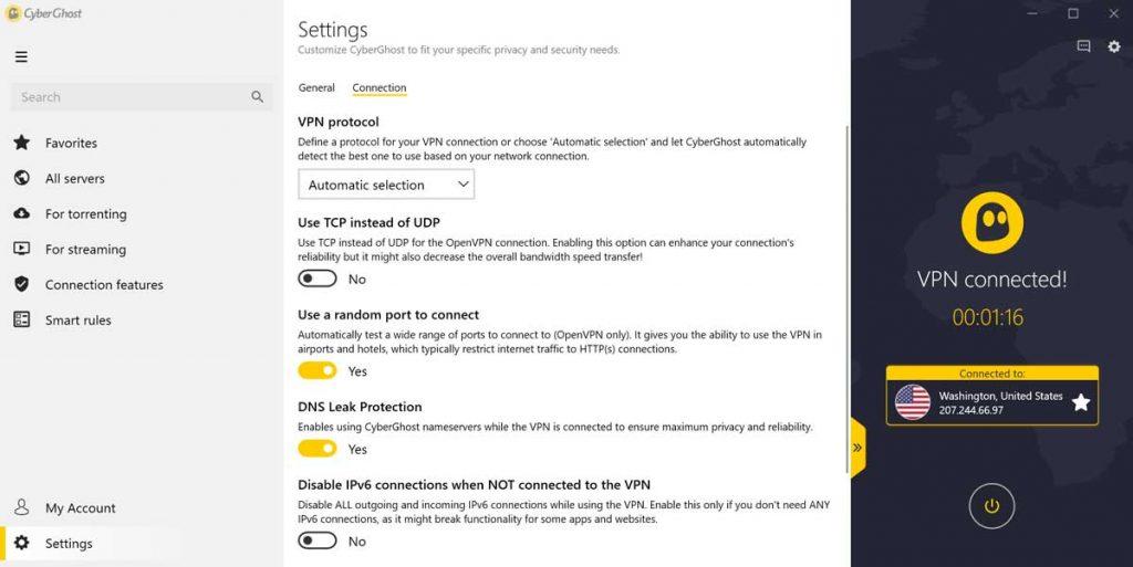 cyber ghost vpn parametres connexion