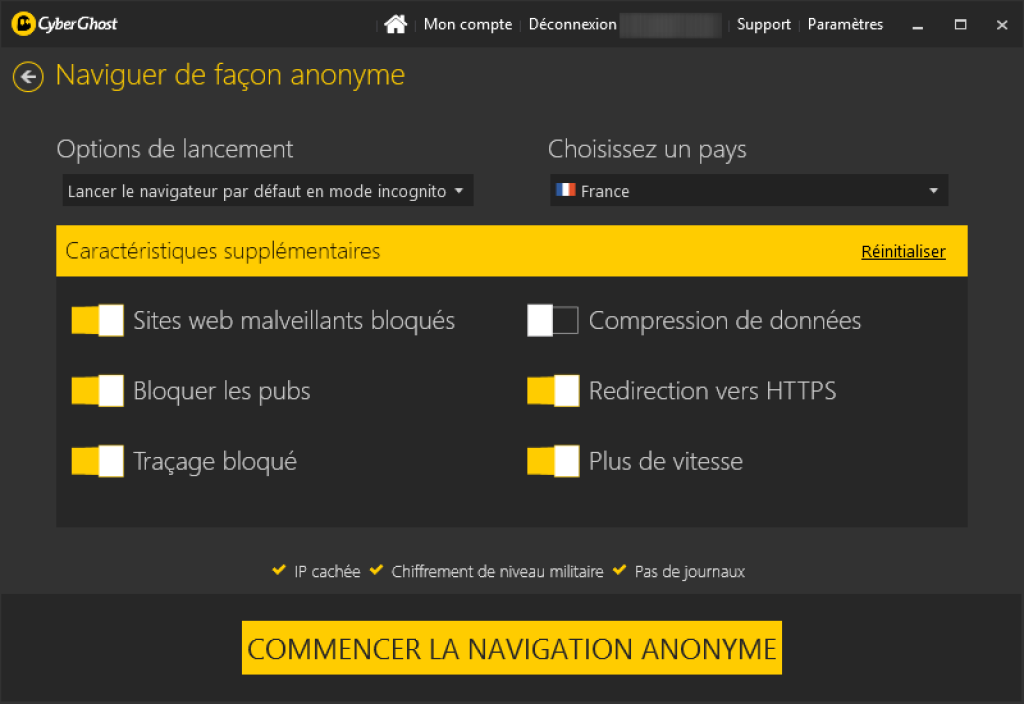 cyberghost vpn navigation anonyme