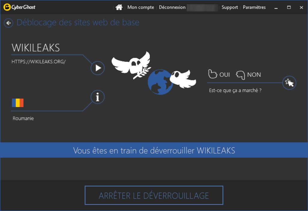 cyberghost wikileaks debloque