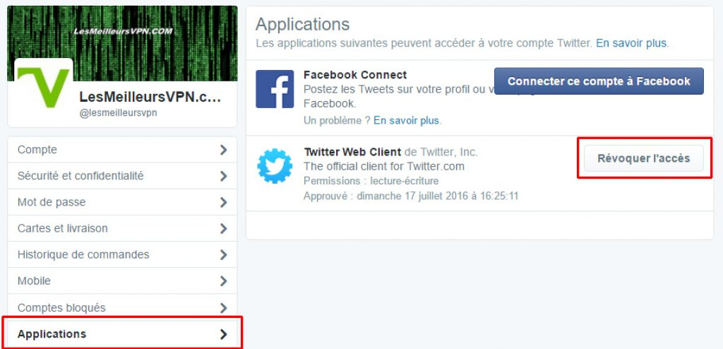 Confidentialité Twitter apps