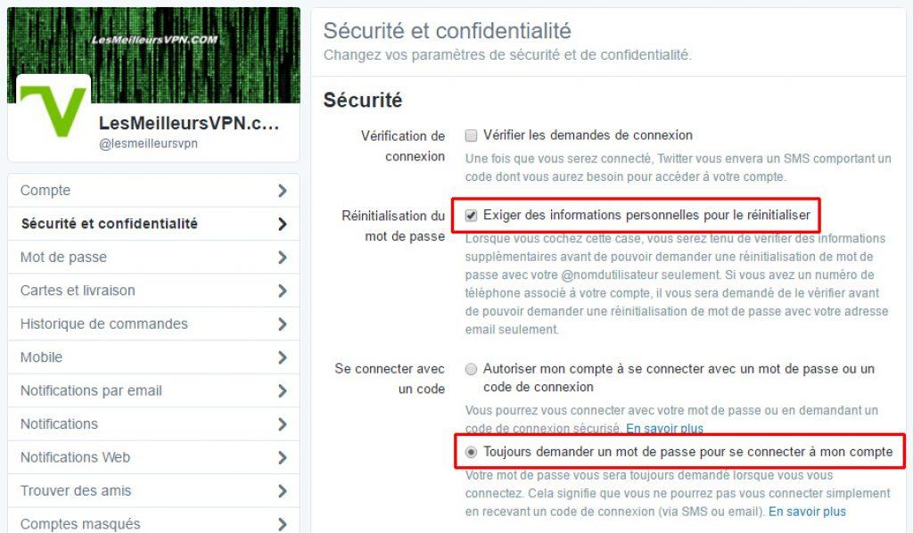 Confidentialité Twitter sécurité
