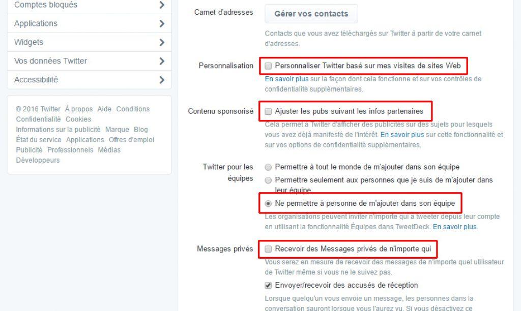 Confidentialité Twitter personnalisation