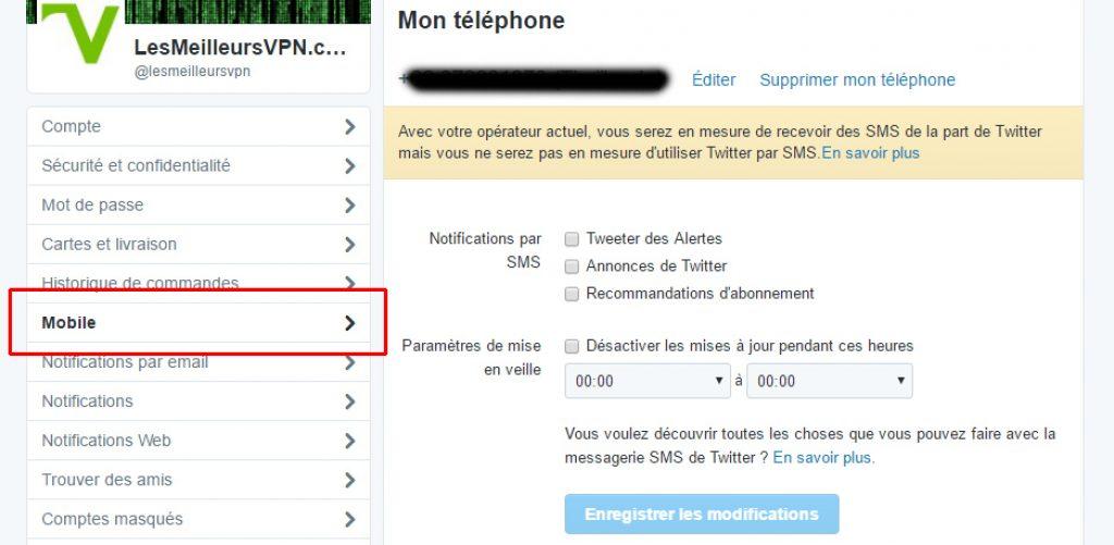 Confidentialité Twitter téléphone portable