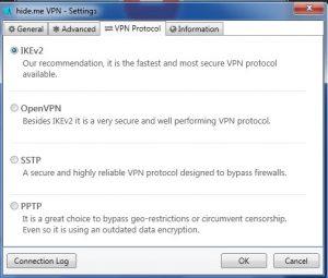 VPN Hide.Me : choix du protocol