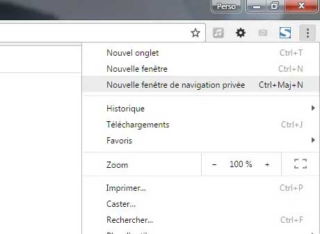 Navigation privée Google Chrome