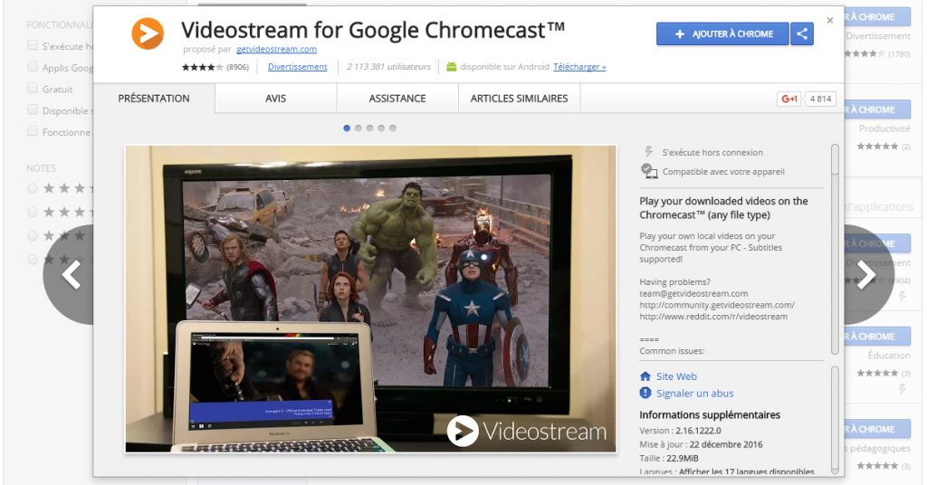 chromecast videostream pour chrome