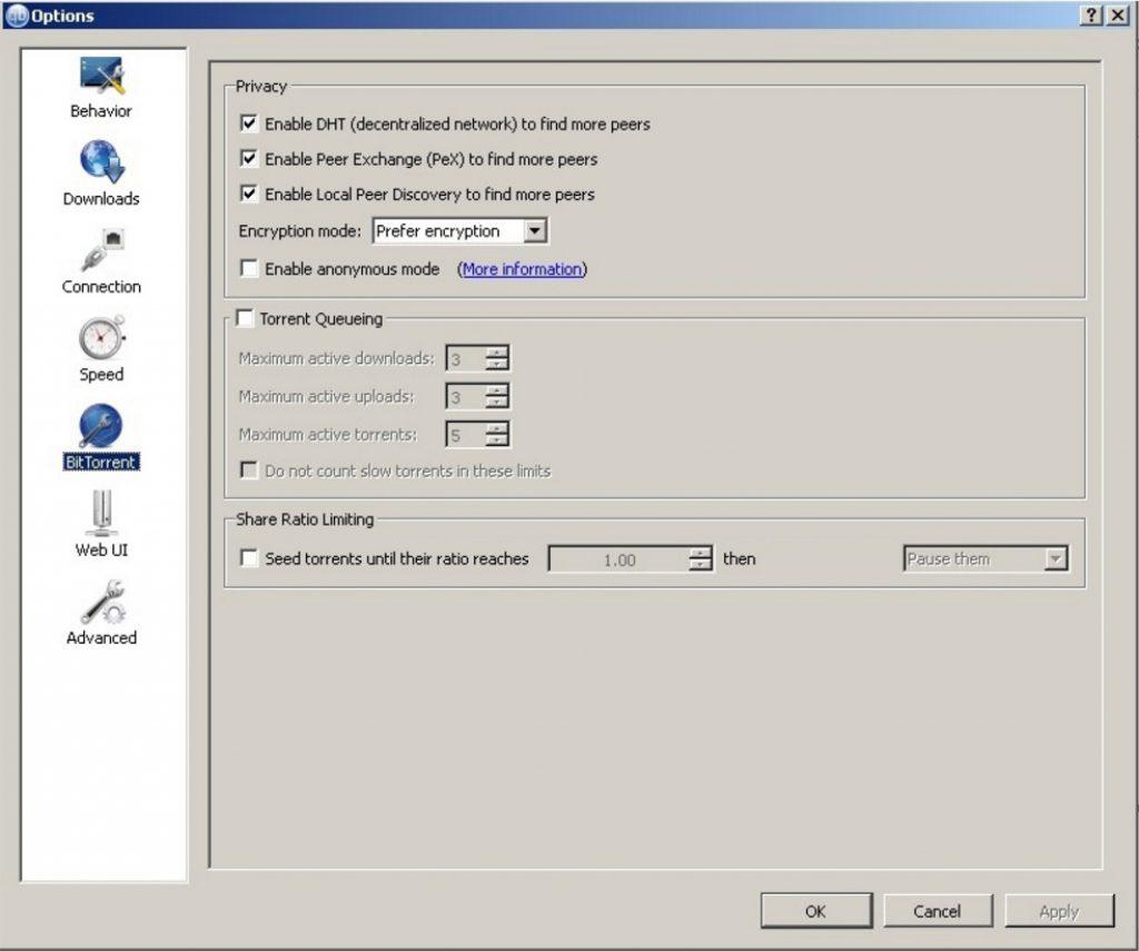 Télécharger anonymement avec un vpn pour torrent et qBittorent : options qBittorrent