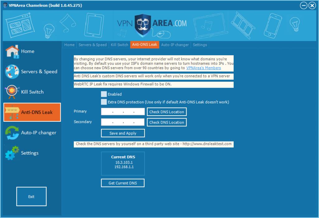 Avis VPNArea : anti dns-leak vpn area