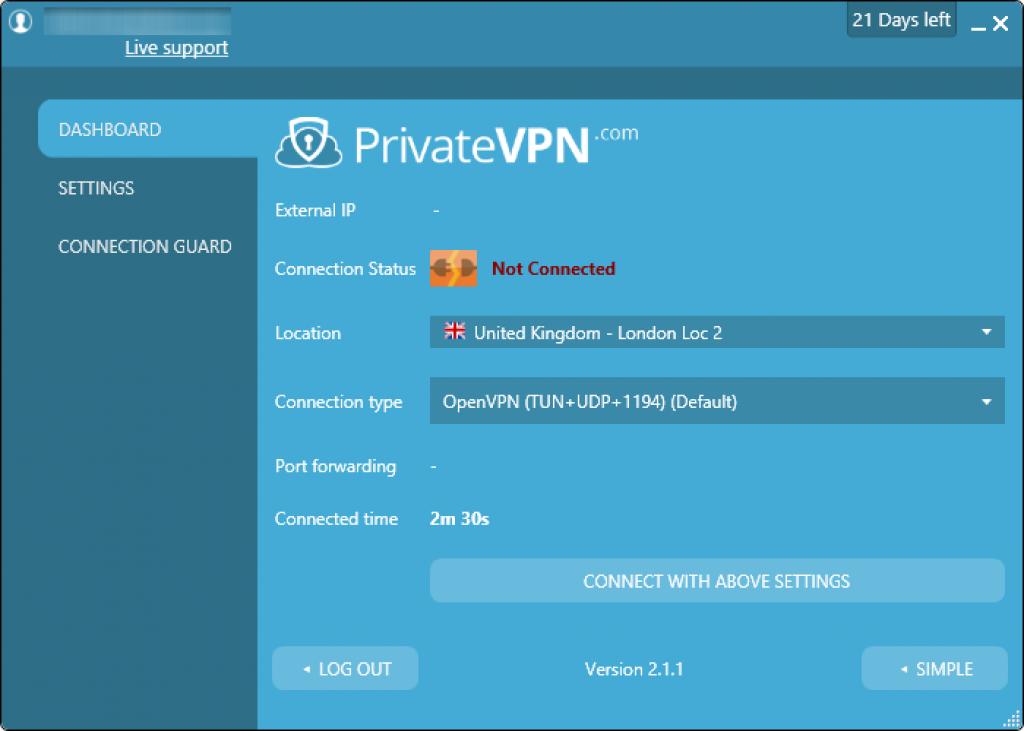 avis private vpn advanced interface