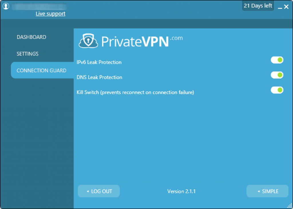 private vpn connection guard
