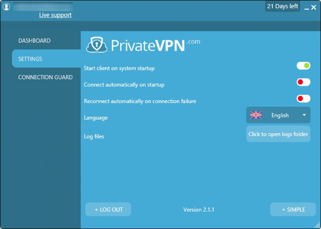 private vpn parametres