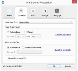 windscribe preferences connexion
