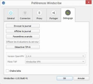 windscribe preferences debugging