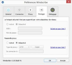 windscribe preferences share