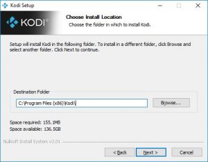 dossier installation kodi