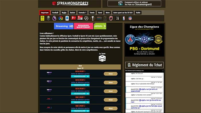 site streaming sport gratuit